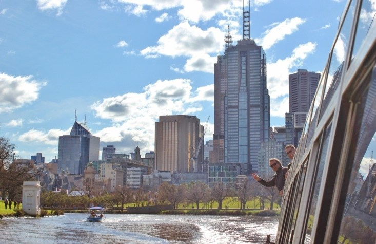 Melbourne City views from Yarra River Cruise, Australia