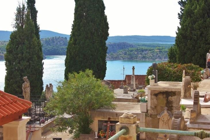 Views of the Adriatic Sea from St. Ana Cemetery in Sibenik, Croatia