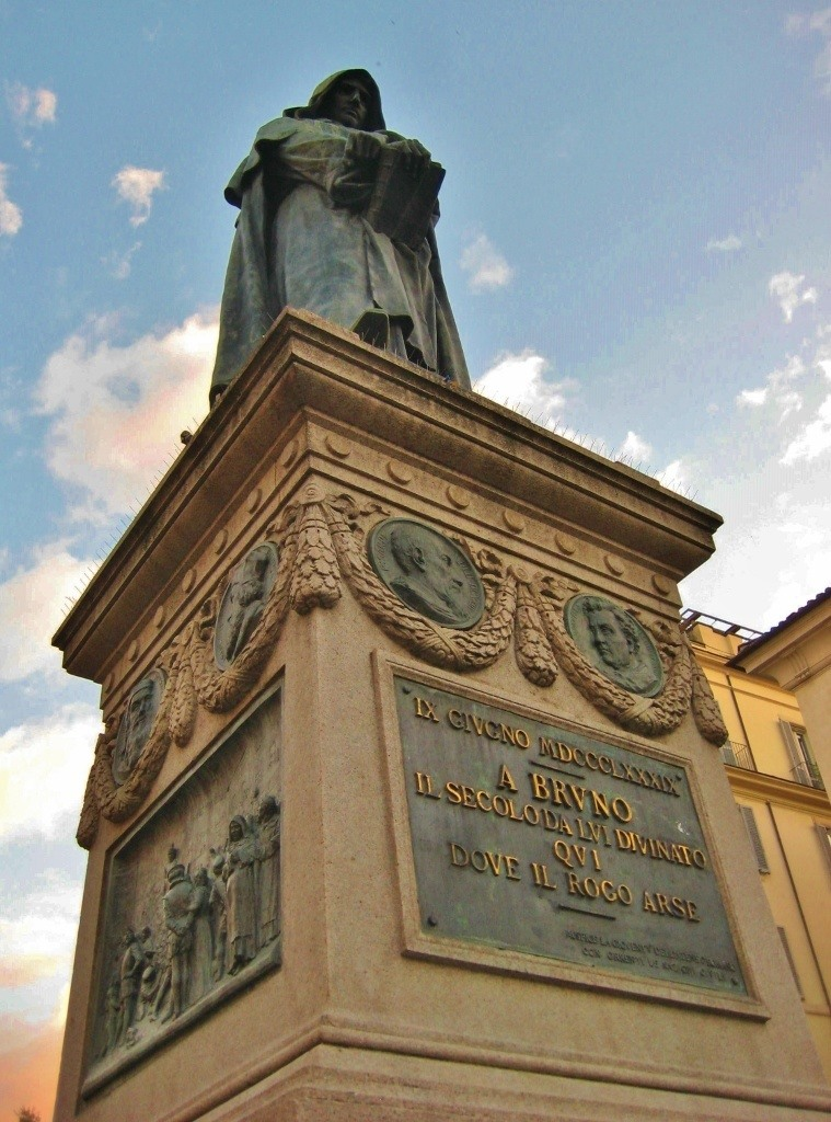 Statue of Philosopher Giordano Bruno on Campo de Fiori Square in Rome, Italy