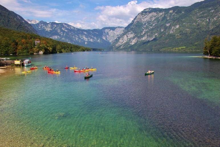 Kayaks and mountains at Lake Bohinj, Slovenia