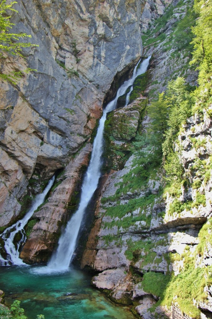 Savica Slap Waterfall flows into Lake Bohinj, Slovenia
