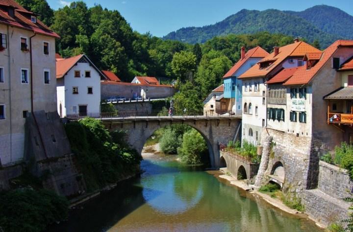 Capuchin Bridge, one of the historic sights in Skofja Loka