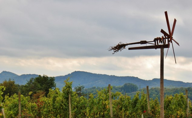 Old-fashioned Klopotec wind rattle at Hisa Vina Doppler in Slovenia