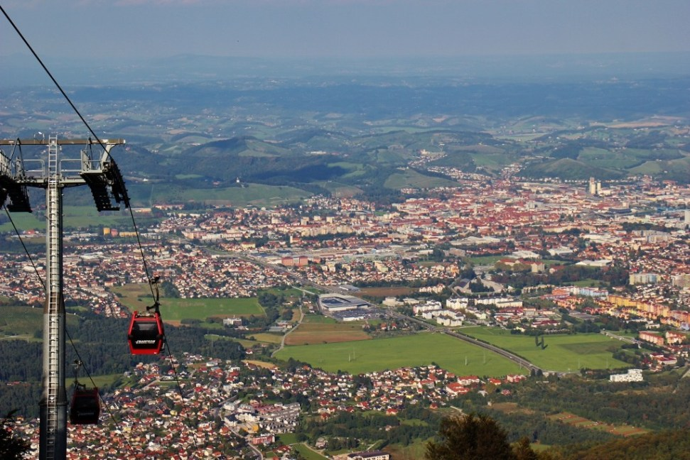 Pohorje Mountain Cable Car city views in Maribor, Slovenia