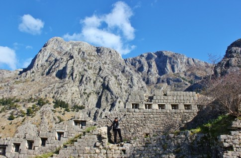 Hillside fortifications and city walls on St. John's Hill, Kotor, Montenegro