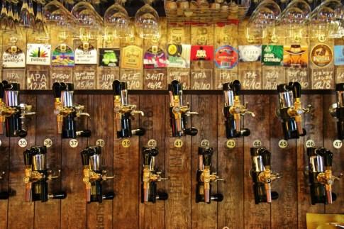 Beer Taps at craft beer multitap bar Piw Paw in Warsaw, Poland
