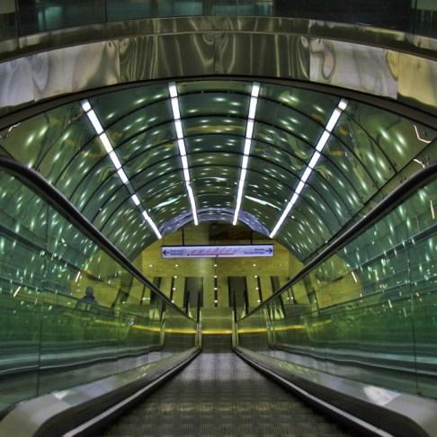 Entrance into Centrum Nauki Kopernik Metro Station in Warsaw, Poland
