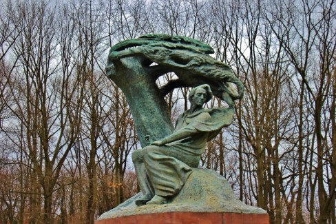 Statue of composer Fryderyk Chopin at Lazienki Royal Park in Warsaw, Poland
