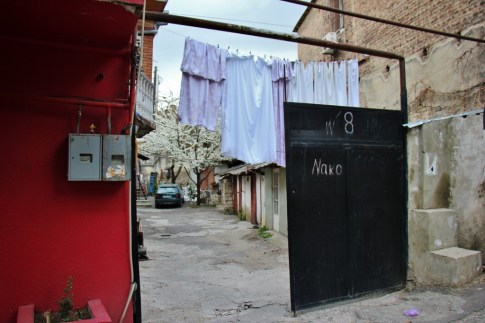 Laundry hanging in courtyard in Old Town, Tbilisi, Georgia