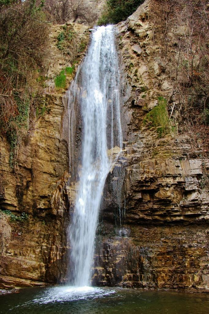 Flowing waterfall at National Botanical Garden of Georgia, Tbilisi, Georgia