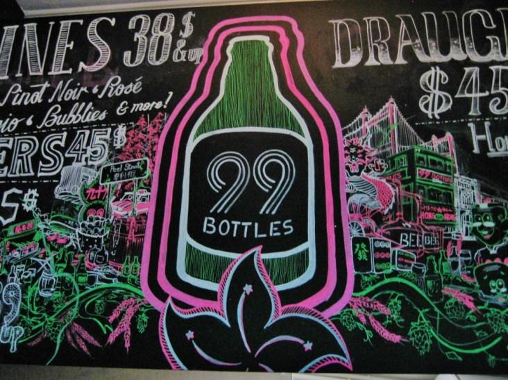 99 Bottles bar sign in Soho, Hong Kong