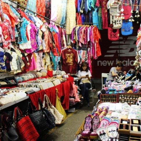 Clothing stall at Ladies Market in Hong Kong