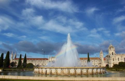 Fountain on Praca do Imperio at Jeronimos Monastery in Belem, Lisbon, Portugal