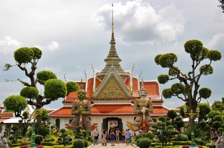 Colorful prayer hall at Wat Arun in Bangkok, Thailand