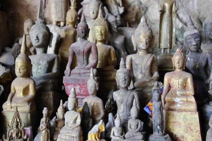 Dusty Buddha statues in Pak Ou Caves, Buddha Cave, Laos