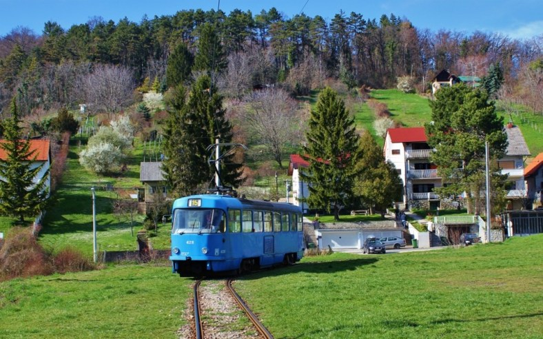 Tram turns at end of track, Zagreb, Croatia