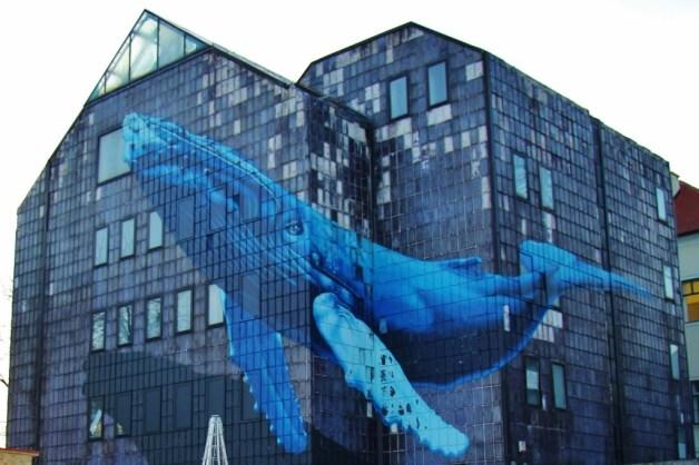 Street Art mural of whale in Zagreb, Croatia