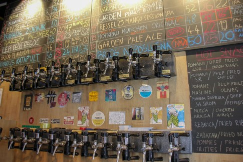 Beer taps at Harat's Beer boutique in Zagreb, Croatia