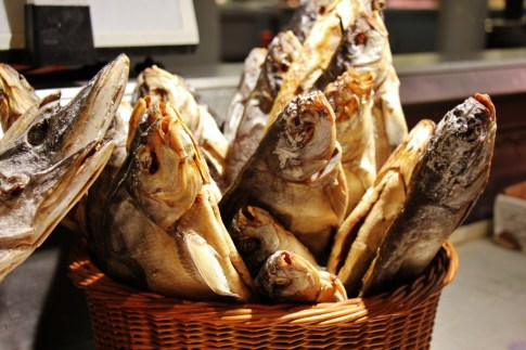 Basket of dried fish for sale at the Central Market in Riga, Latvia