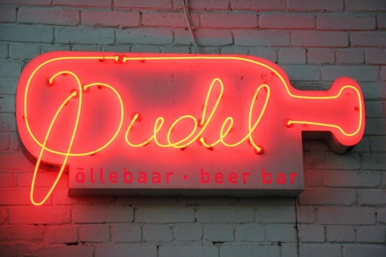 Pudel Beer Bar red neon sign in Tallinn, Estonia
