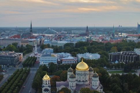 City view from Skyline Bar at Radisson Blue in Riga, Latvia