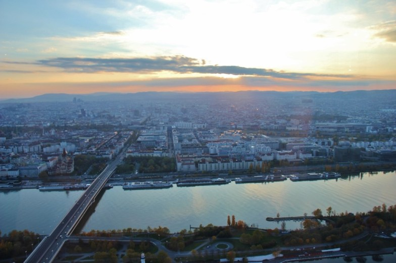 City View from 57 Lounge at DC Tower in Vienna, Austria