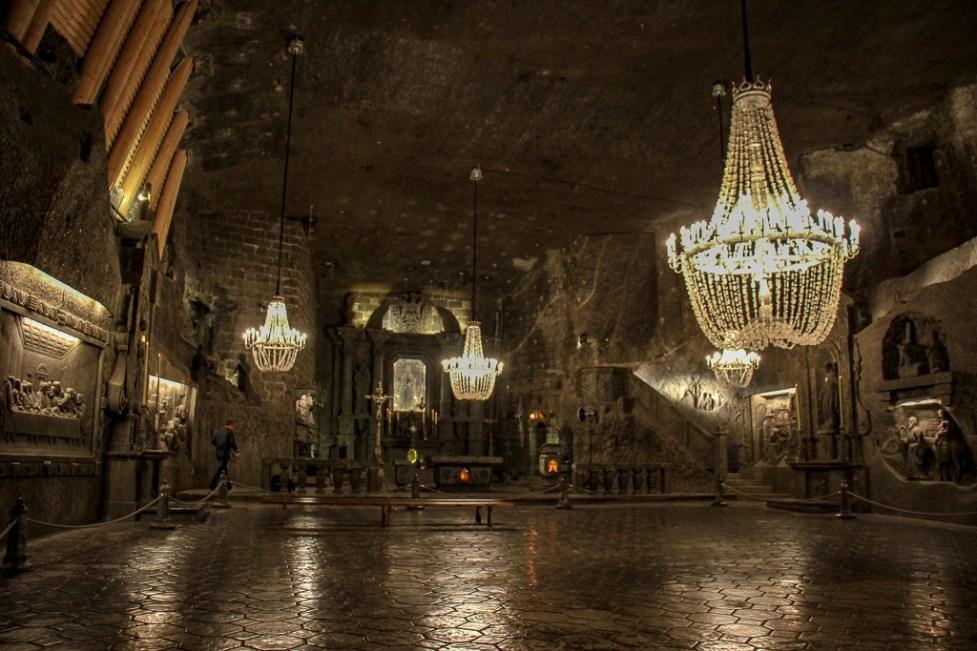 St. Kinga's underground chapel in Wieliczka Salt Mine in Krakow, Poland