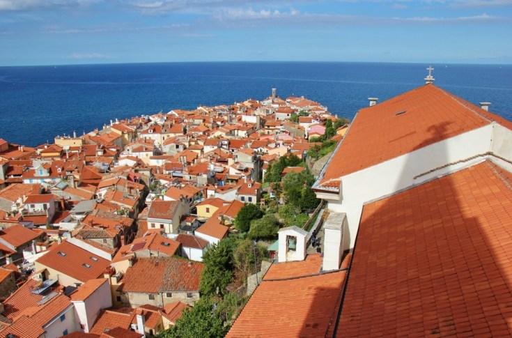 Piran peninsula view from St. Geroge's Church Bell Tower in Piran, Slovenia