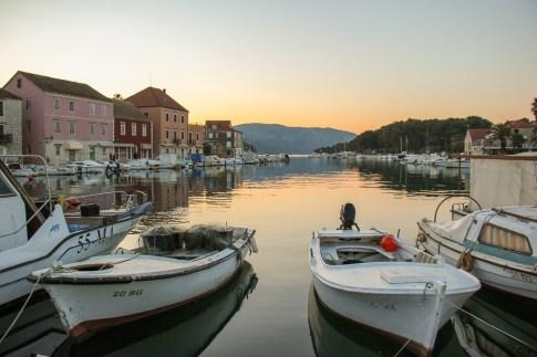 Sunset on Stari Grad Marina on Hvar Island, Croatia