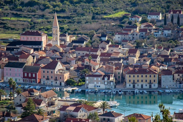 View of Historic Stari Grad Old Town from Glavica Hill on Hvar Island, Croatia