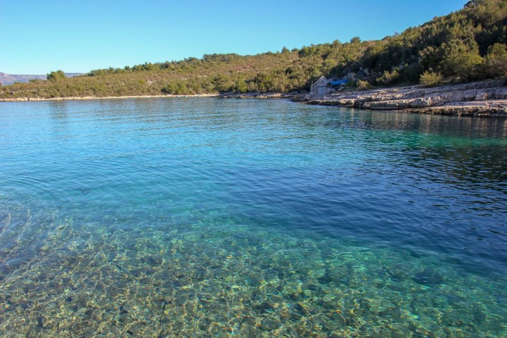 Teal blue water in Zukova Bay in Stari Grad on Hvar Island, Croatia