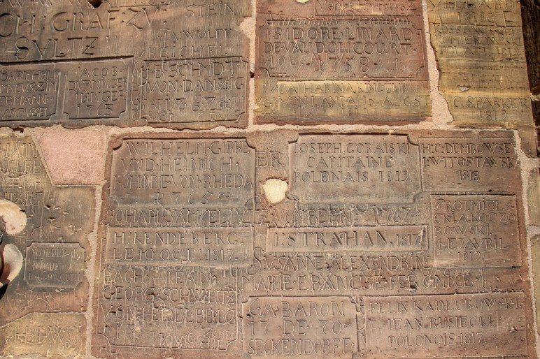 Etchings at base of cathedral tower in Strasbourg, France