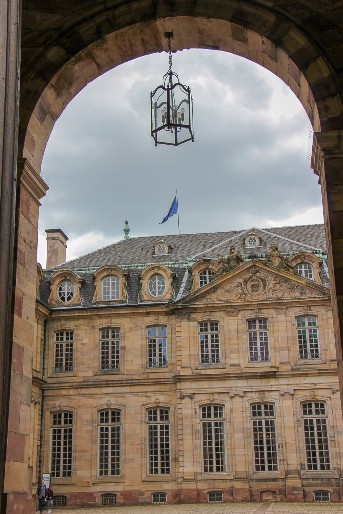 Archway to Palais Rohan courtyard in Strasbourg, France