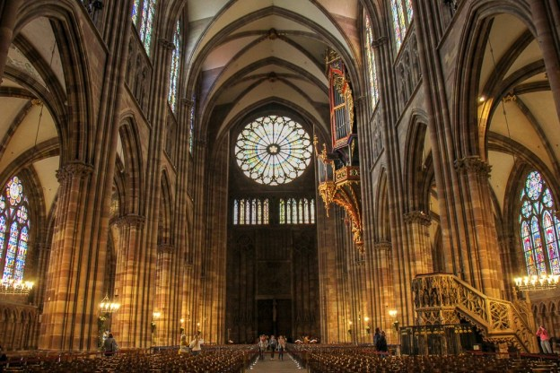 Rose Window over main entrance of Notre Dame Cathedral in Strasbourg, France