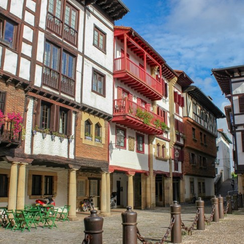 Traditional buildings in the Old Town of Hondarribia, Spain