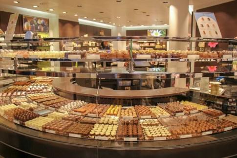 Chocolate truffles at Laderach on Marktplatz in Basel, Switzerland