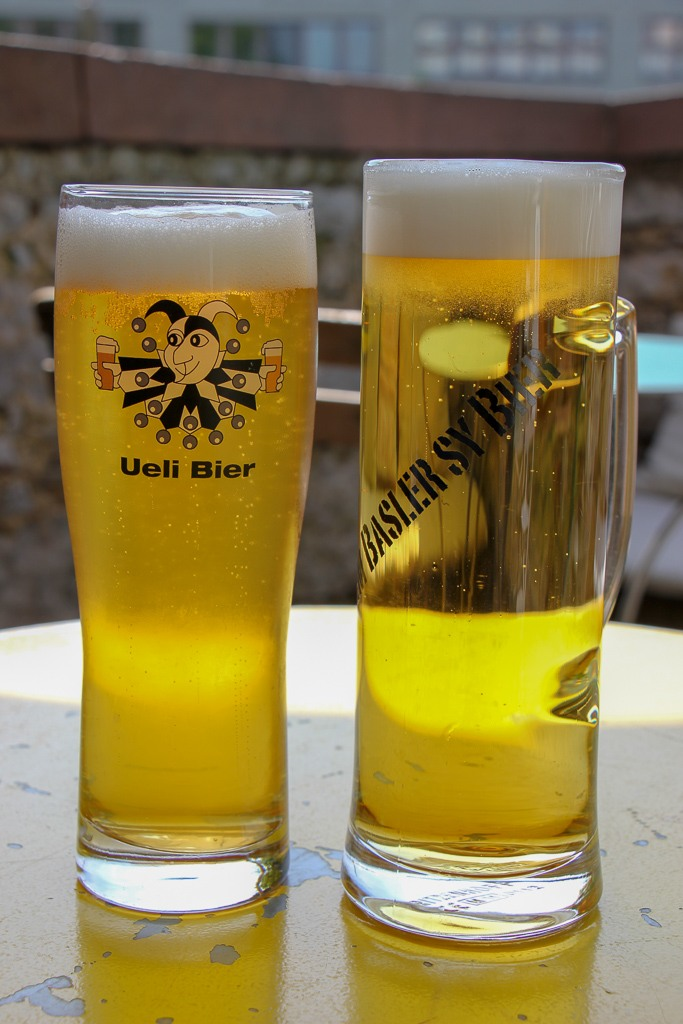 Two local beers in Basel, Switzerland
