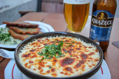Oven-baked potato casserole at Pyra Bar in Gdansk, Poland