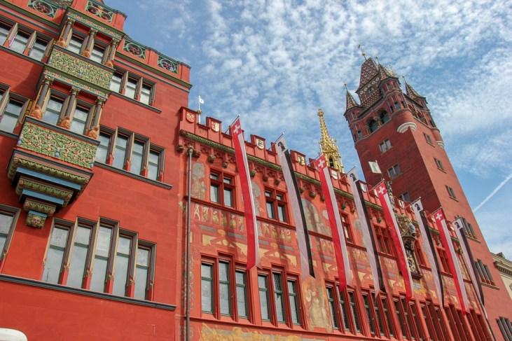 Striking red Rathaus Town Hall in Basel, Switzerland