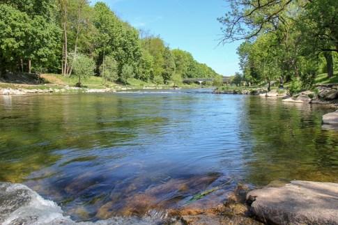 The Wiese River at Erlen Verein Park in Basel, Switzerland