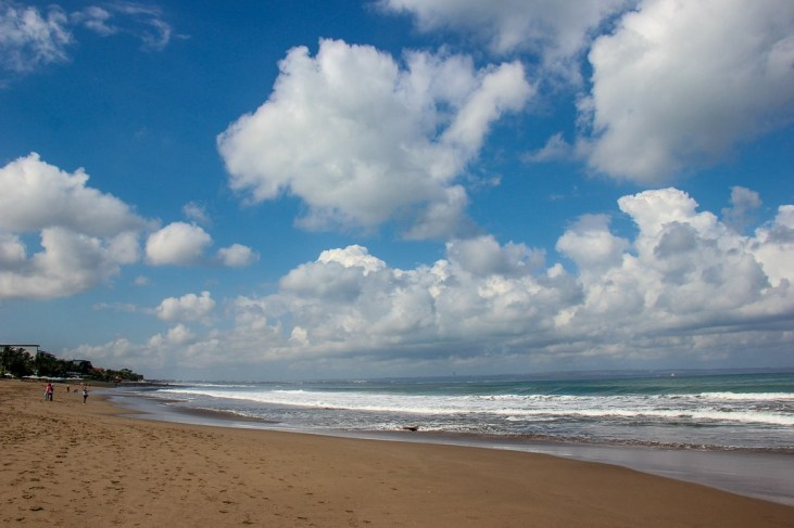 Sandy beach on a sunny day in Canggu, Bali, Indonesia