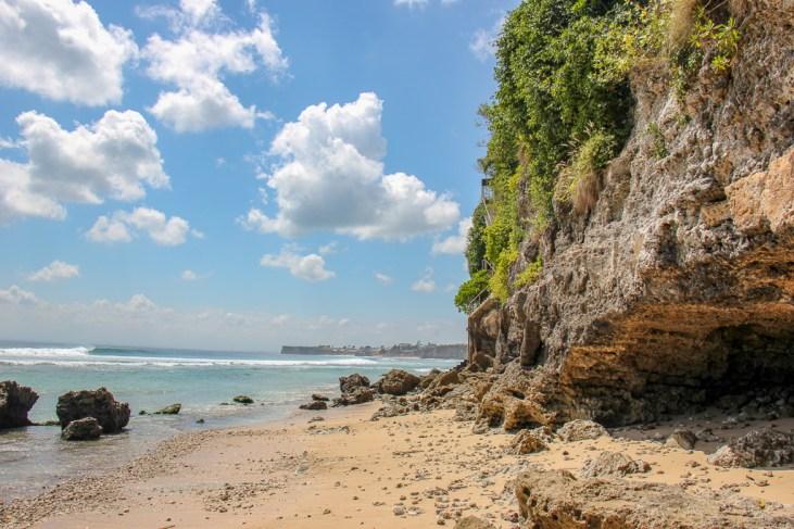 Rocky terrain at Impossible Beach in Uluwatu, Bali, Indonesia