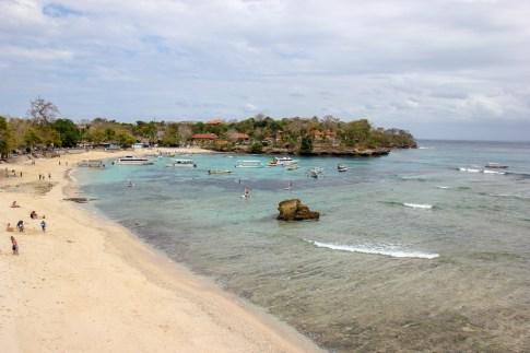 View overlooking Mushroom Beach on Nusa Lembongan, Bali, Indonesia
