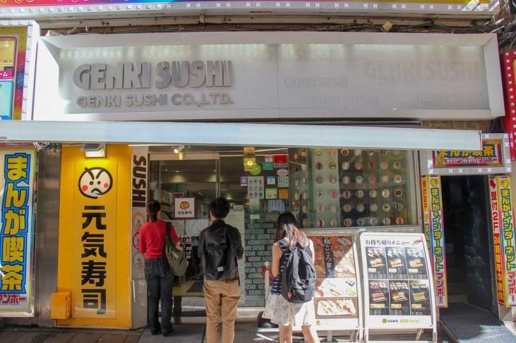 Entrance to Genki Sushi Train in Tokyo, Japan