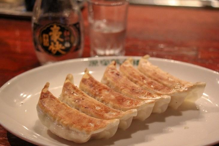 Pan-fried gyoza from Harajuku Gyozaro in Tokyo, Japan