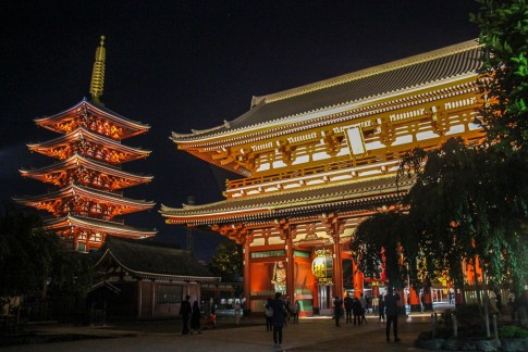 Sensoji Temple and Pagoda at night in Tokyo, Japan