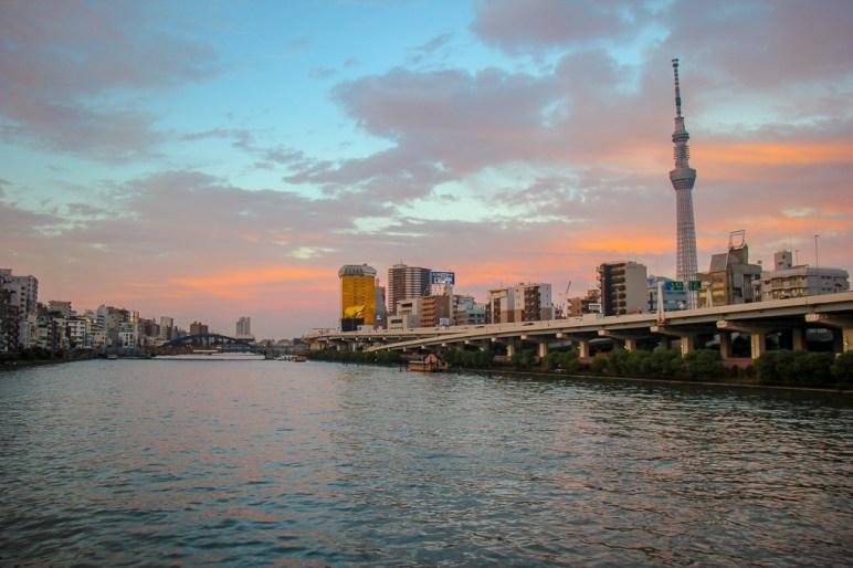 Sunset on Sumida River in Tokyo, Japan