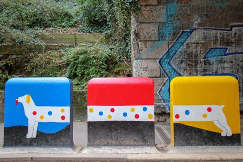 Street art in Coulee Verte Rene Dumont Park in Paris, France
