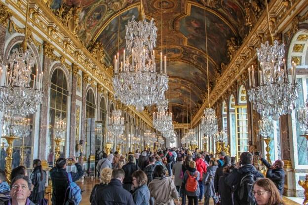 Hall of Mirrors at Versailles Palace near Paris, France