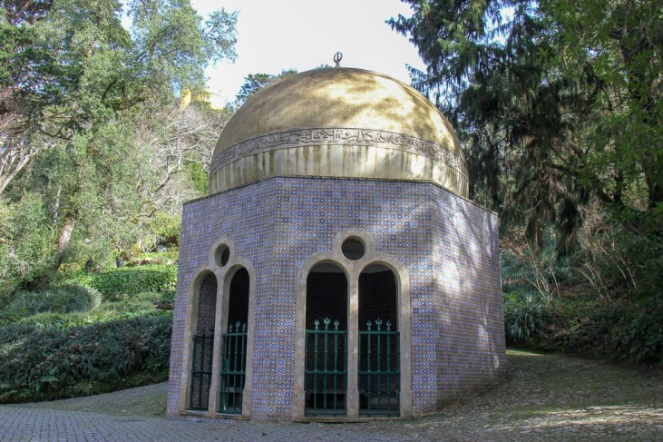 Islamic pavilion called Fountain of the Small Birds in Pena Palace Park in Sintra, Portugal